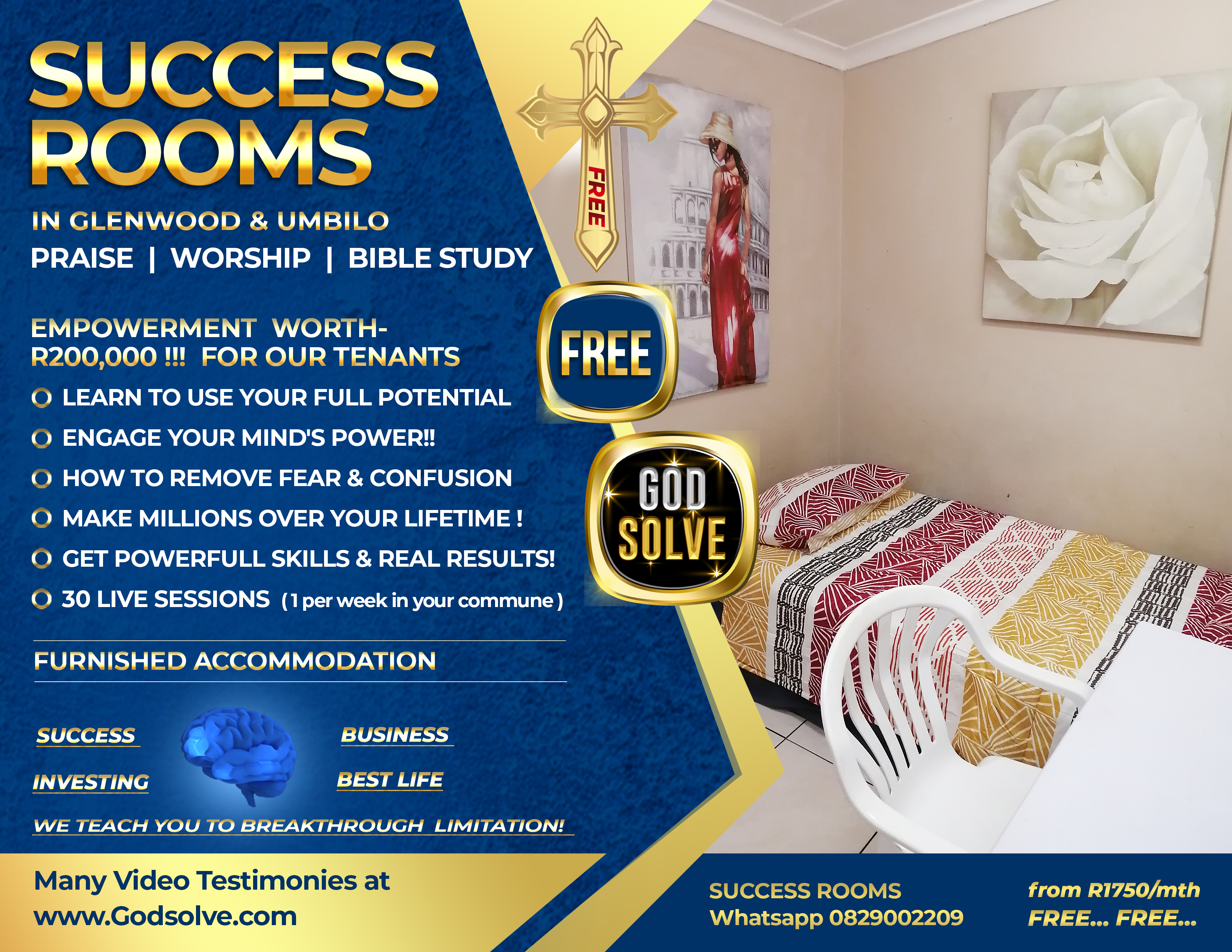 Shared Accommodation Durban Godsolve Success Rooms in Durban, Richard Daguiar Trading & Success Coach
